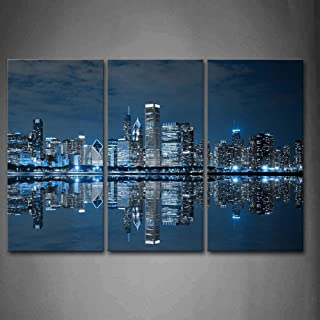 LIVEXH Wall Art, Blue Cool Buildings in Dark Color in Chicago Wall Art Painting The Picture Print On Canvas City Pictures for Home Decor Decor/No Frame