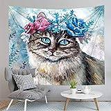 WERT Animale gatto e cane stampato yoga mat parete arte casa decorazione copriletto coperta arazzo sfondo panno A6 73x95cm
