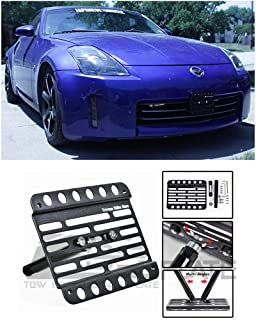 Extreme Online Store for 2005-2008 Nissan 350Z (Production After Feb 2004)   EOS Plate Version 1 Front Bumper Tow Hook License Plate Relocator Mount Bracket Tow-043 (Mid Size)
