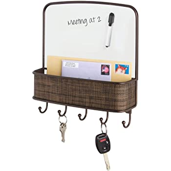 mDesign Metal Woven Wall Mount Entryway, Office Storage Organizer Mail Basket with Dry Erase Board, 5 Hooks - Holds Letters, Magazines, Keys, Coats, Leashes - Woven Plastic Accent - Bronze