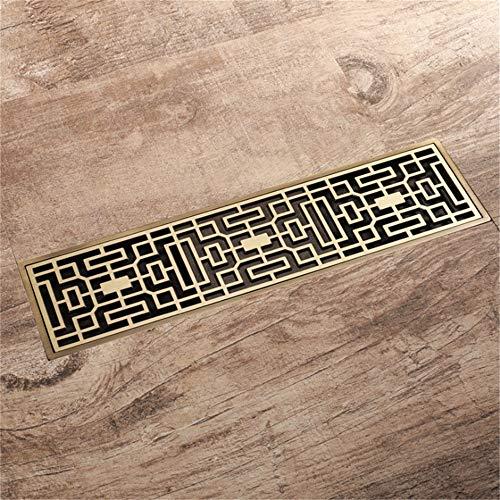 Bodenablauf Vintage Flieseneinsatz Bronze Bad Bodenablauf Rechteckigen Messing Duschbodenablauf Anti-Verstopfung für Badezimmer Duschraum Toilette (Color : Bronze, Size : 300 * 82MM)