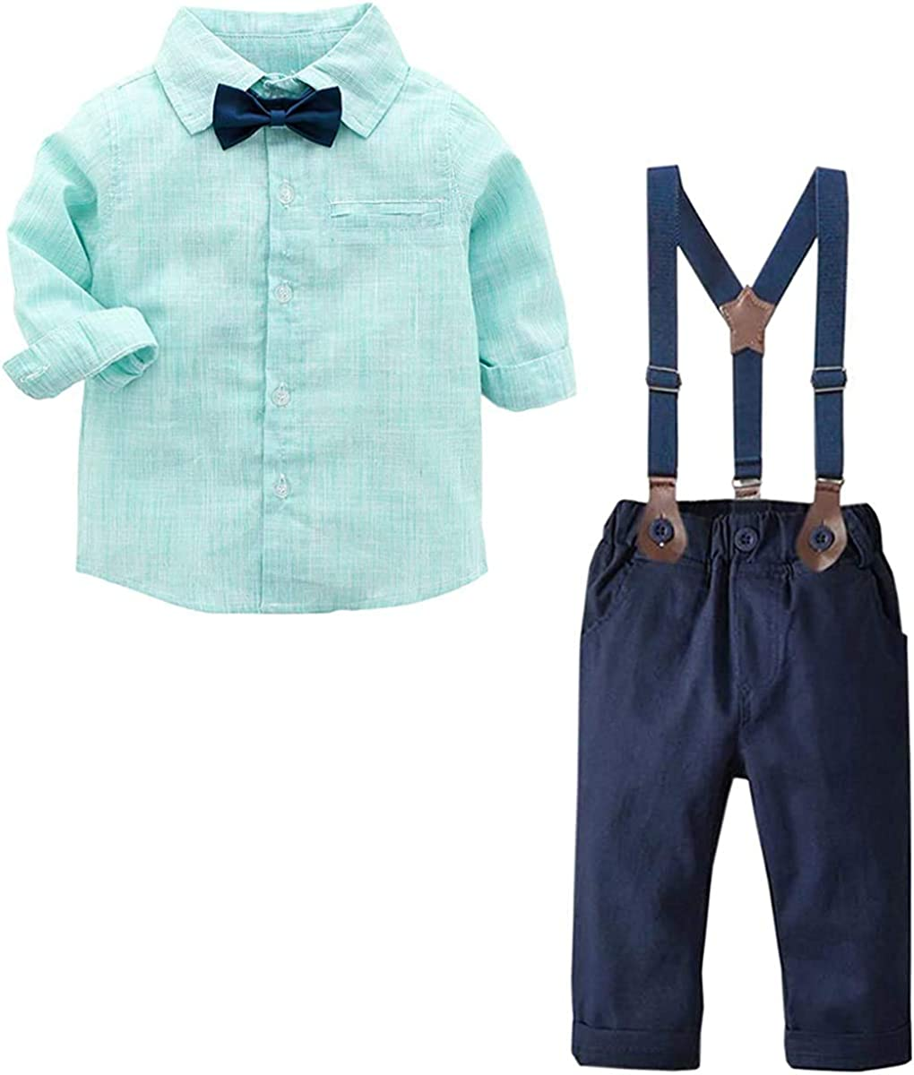 SANGTREE Baby Boys Clothes, Dress Shirt with Bowtie + Suspender...