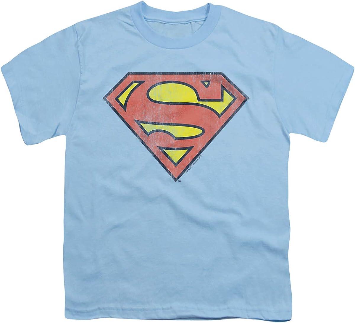 DC Retro Supes Logo Distressed Unisex Youth T Shirt, Light Blue, Large