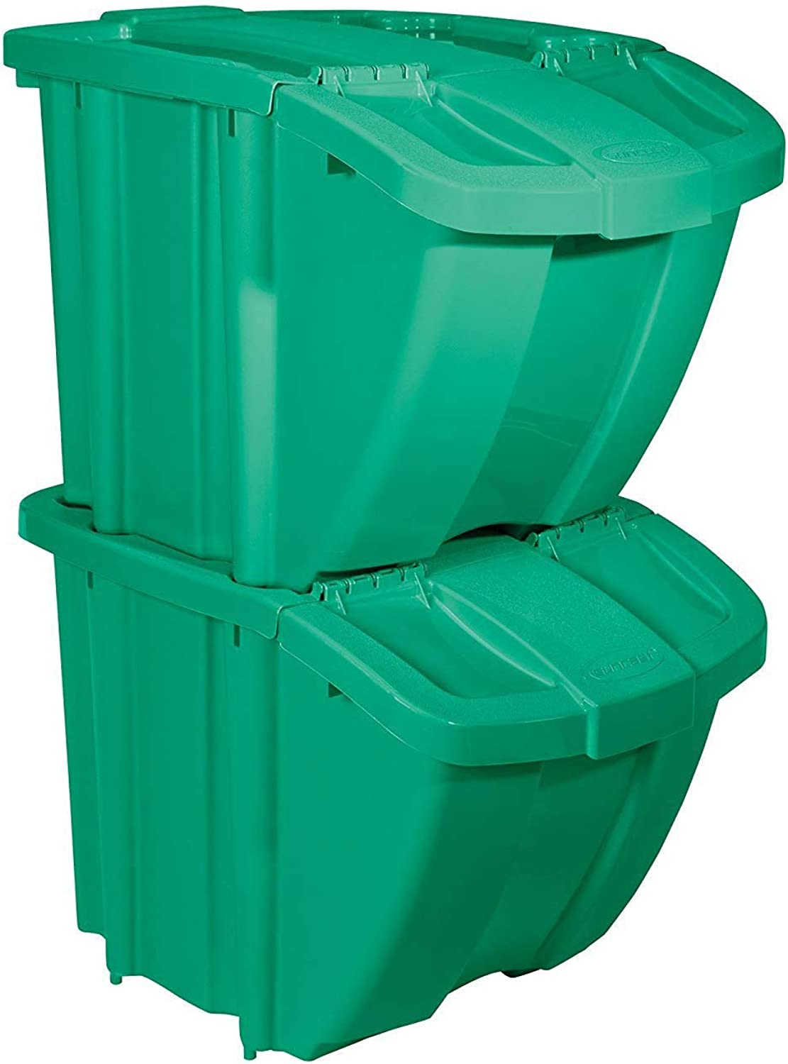 Suncast BH18blueE2 Stackable Recycling Bin Containers with Lids, bluee (4 Pack)