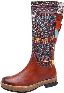 حذاء نسائي مطرز بدانتيل طويل ❀ حذاء نسائي برقبة على شكل شريط مسطح من الأسفل فوق الركبة