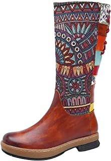 2019 Modern Embroidery Floral Ankle Booties,QueenMM Bohemian Exotic Pointed Toe Short Boots Side Zipper