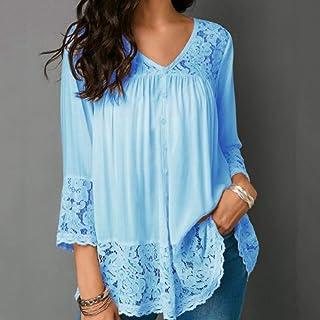 T-shirt Lace Stitching Shirt V-neck Cropped Sleeve T-shirt, Size:S(White) T-shirt (Color : Light Blue, Size : 3XL)