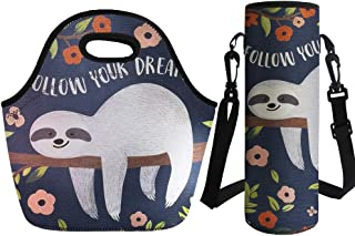 Coloranimal Floral Sloth Thermal Insulated Lunch Tote Bag with Big Water Bottle Sleeve