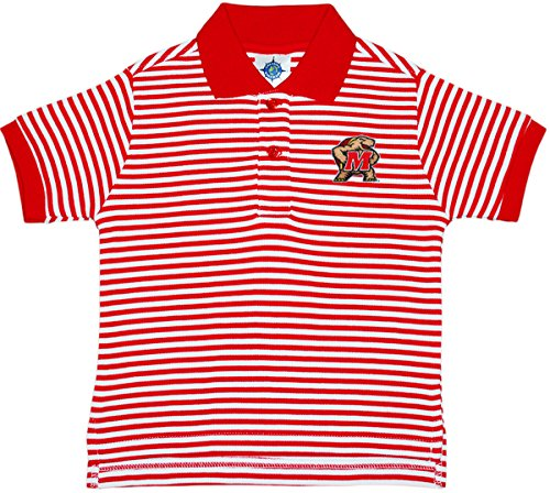 University of Maryland Terps Striped Polo Shirt by Creative Knitwear, Red/White, 4T