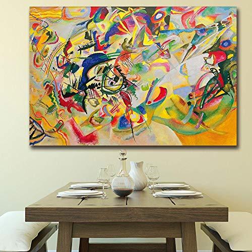Suuyar Samenstelling Door Wassily Kandinsky Schilderij Voor Woonkamer Woondecoratie Olieverfschilderij Muurschildering-60x120cm geen frame