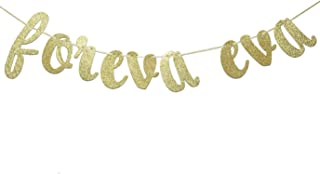 JustParty Foreva Eva Glitter Banner, Gold Wedding Banner , Engagement Party Decor, Forever and Ever Banner (Gold)