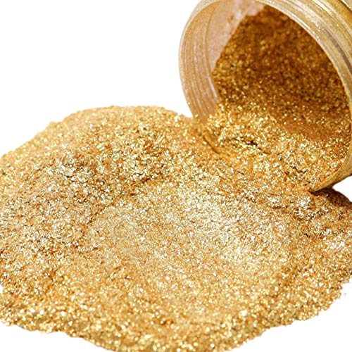 FIREDOTS Gold Nugget Mica Pearl Pigment Powder for Epoxy Resin, Soap Making, and More - 100g of Gold Mica Powder - Epoxy Resin Color Pigment