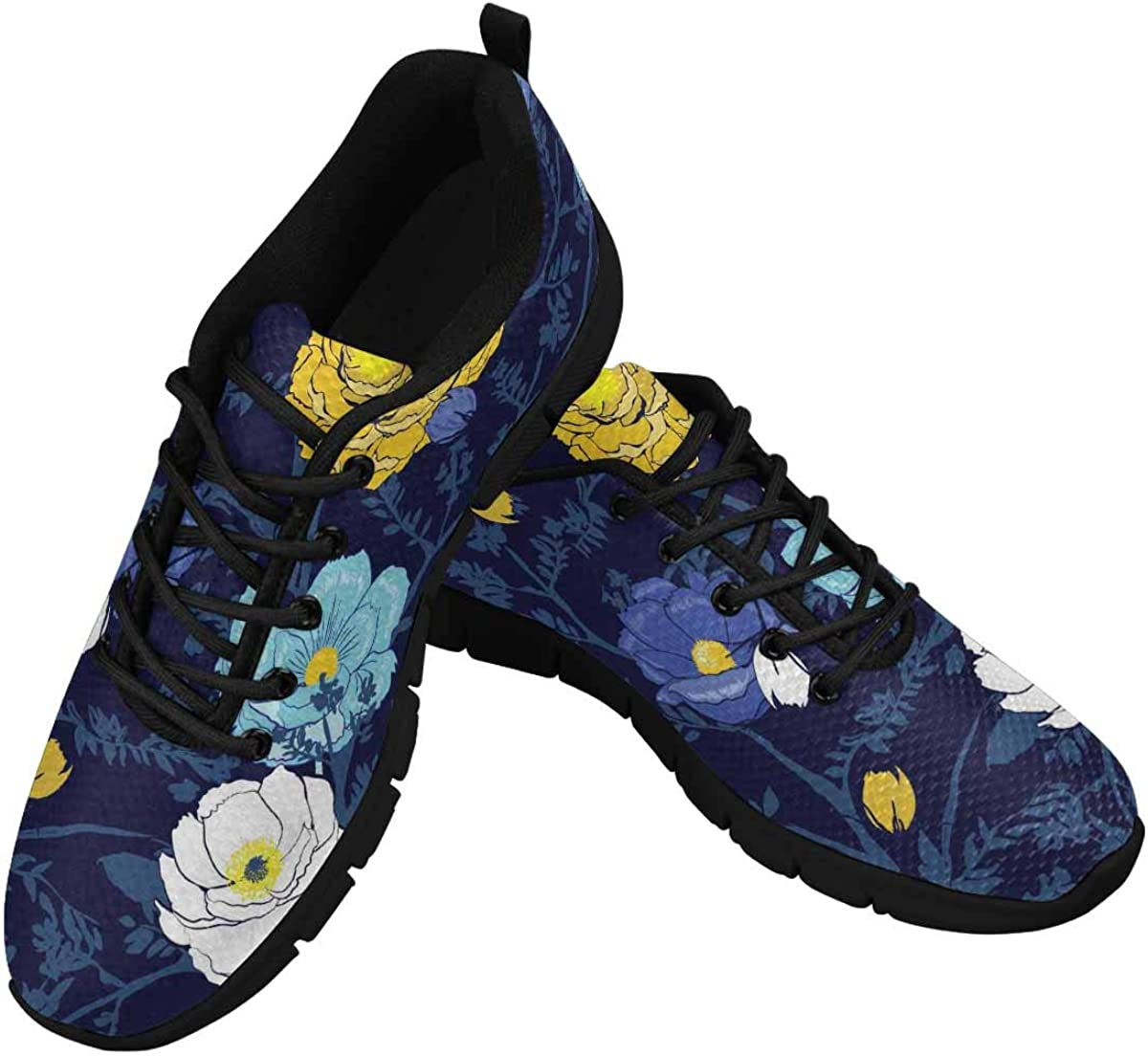 InterestPrint Blooming Floral Flower Women's Running Shoes Mesh Breathable Sports Casual Shoes