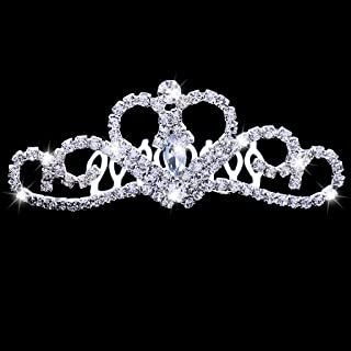 Flameer Mini Princess Crown Comb Tiara Hair Clips for Wedding Flower Girls Birthday Party Favors - Silver