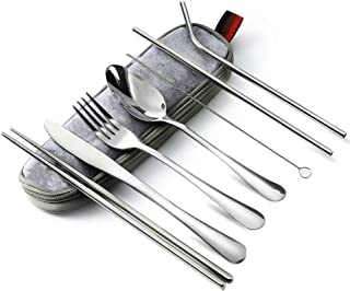 Portable Reusable Travel Utensils Silverware with Case Travel Camping Cutlery Set 8-Piece Including Knife Fork Spoon Chops...