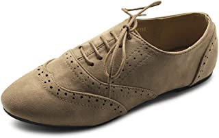 Ollio Women's Shoes Faux Suede Classic Wingtips Lace Up Oxfords F115