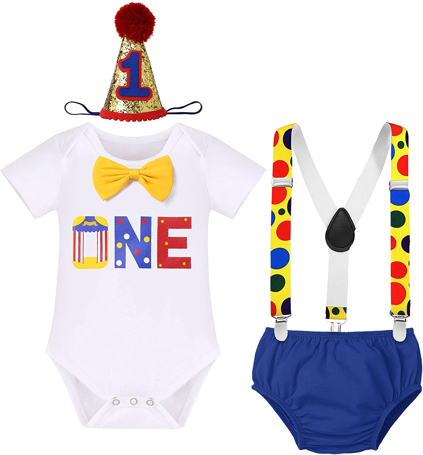 Circus Carnival Theme 1st Birthday Cake Smash Outfit for Baby Boy Suspenders Bowtie Hat Photo Props Costume