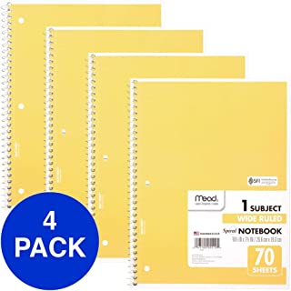 Mead Spiral Notebooks, 1 Subject, Wide Ruled Paper, 70 Sheets, 10-1/2 x 7-1/2 inches, Yellow, 4 Pack (38072)