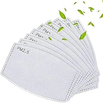 100 unidades PM2.5 Filtros de carbón activado 5 capas reemplazables de papel de filtro antiniebla