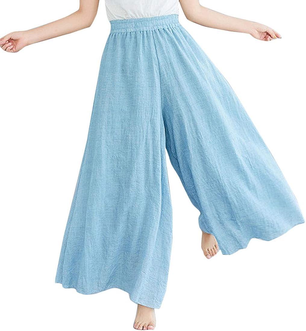 Flygo Women's Pull-On Elastic Waist Wide Leg Linen Pant Palazzo Pants Culottes