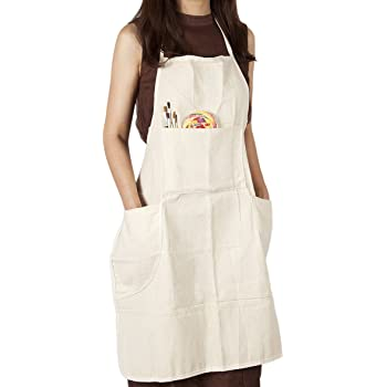 CONDA Cotton Canvas Professional Bib Apron With 3 Pockets for Women Men Adults,Waterproof,Natural 31inch By 27inch