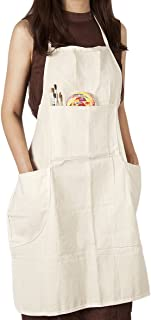 CONDA Adjustable Professional Bib Apron Cotton Canvas With 4 Pockets for Women Men Adults,Waterproof,Natural 31inch (1pcs pack)