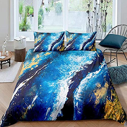 HUA JIE Twin Bed Sets Marble Bedding Teal Blue Duvet Cover Set Gold Texture Comforter Kids Boys Trippy Fluid Liquid Bed Full 1 Gypsy Golden Abstract Tie Dye 2 Pillowcases