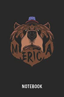 Merica Notebook: Blank & Dotted Patriotic Grizzly Bear Journal (6