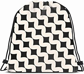 Ahawoso Gym Drawstring Bags Backpack String Bag 14X16 Pattern Simple Abstract Retro Black Line White Canvas Carpet Victorian Grid Classic Graphic Furniture Sport Sackpack Hiking Yoga Travel Beach