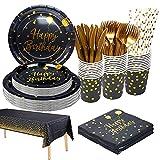 Juego de vajilla de fiesta para 25 invitados, vasos de papel desechables para fiestas, cumpleaños, bodas, aniversarios, graduaciones, Halloween, color dorado y negro