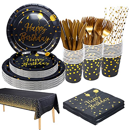 Vaisselle Jetable Anniversaire noir et or, 25 invités Vaisselle Jetable Assiette en Papier Gobelet en Papier Pour les Fêtes, Mariages, Fêtes de Remise des Diplômes, Assiettes de Fête dHalloween