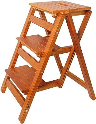 踏み台 折りたたみ梯子、室内肥厚梯子、三段梯子装飾家族多機能家庭用ウッドカラー