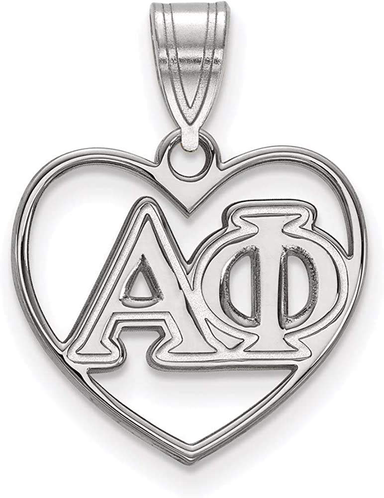 Sterling Courier shipping free Silver Rh-plated Max 42% OFF LogoArt Alpha Heart 1 Phi Pendant 21mm