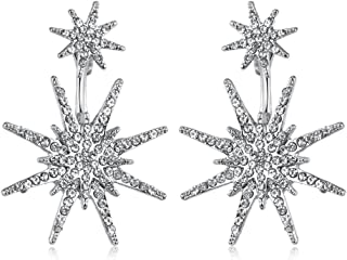 Star Stud Statement Dangling Earrings for Women Unique Fashion Wedding Ear Jacket Jewelry