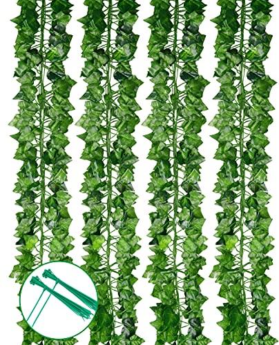 24er Pack künstliche Efeublattpflanzen Vine Hanging Garland 173 FT künstliche Efeugirlande Fake Greenery Leaf Vines Hängepflanzen für Home Wedding Wall Decor