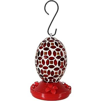 Sunnydaze Outdoor Hummingbird Feeder for Wild Birds, Hanging Oval Mosaic Glass, 18 Ounce Nectar Capacity
