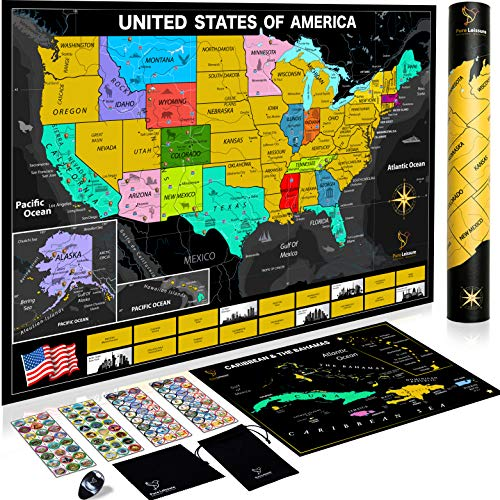 """Scratch Off Map of The United States with National Parks 24""""x17"""" - Bonus Scratch Caribbean Map, 96 Unique Landmarks & Adventure Stickers to Track Travels, Gift for Travelers"""