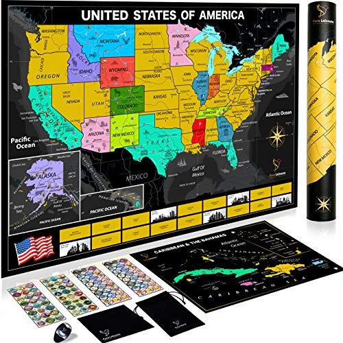 Scratch Off Karte der Vereinigten Staaten Paket mit exklusiven Inseln Scratch, Persönlichen USA Travel Map Tracker, Reisende + Zubehör-Set + Ebook