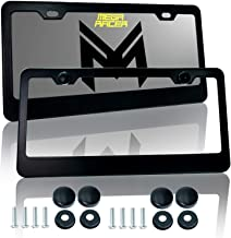 Mega Racer Metal Black License Plate Frame - 2 Hole Slim Front and Rear Black Aluminum License Plate Frames with Stainless...