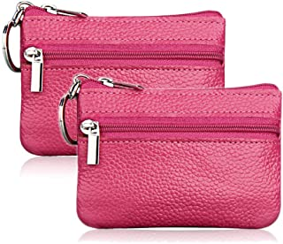Hibate (2 Pack) Mini Coin Purse Holder Wallet Leather Purses for Women Men Kids Zipper Pouch with Key Ring - Pink