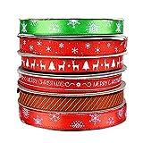 6 rotoli di nastri natalizi di raso grosgrain di Natale nastri a tema natalizio per decorazioni natalizie, confezioni regalo, fai da te, matrimoni, compleanni (25 m / rotolo)