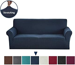 Argstar Jacquard Sofa Slipcover, Navy Blue Stretch Couch Slip Cover, Spandex Furniture Protector for 3 Cushion Seater, Sofa Cover for Living Room, Machine Washable
