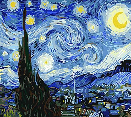 ESHUJIA - Kit di pittura a olio fai da te per bambini, studenti, adulti, principianti, con pennelli e pigmenti acrilici, la notte stellata Van Gogh(senza cornice)