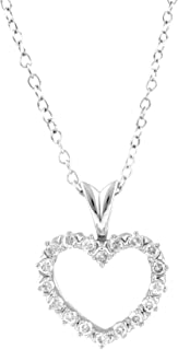14k White Gold Diamond Heart Pendant Necklace for Womens with 18