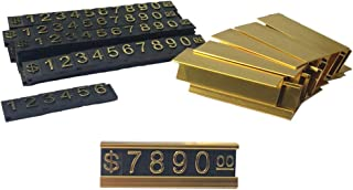 QIQIHOME Counter Stand Label Tag Metal Arabic Price Tag Adjustable Sale Price Display Stand for Retail Shop 12 Sets (Gold)