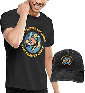 KFR&KNED AAC 307th Fighter Squadron 31st Fighter Group Mens Comfortable Short Sleeve T-Shirts and Washed Denim Hat