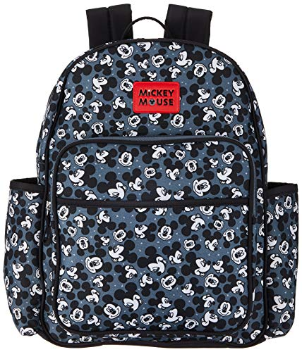 Disney Mickey Mouse Toss Head Print Backpack Diaper Bag, Black (DB30373)