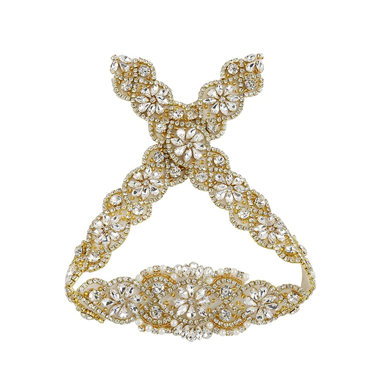 Gold Rhinestone crystal applique for wedding dress Beaded Rhinestone Belts Bridal applique