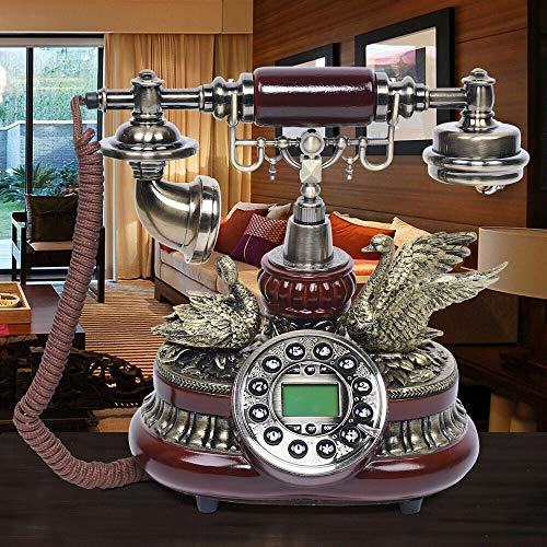 Teléfono retro, teléfono fijo antiguo, retro, vintage, teléfono con dial giratorio, teléfono clásico retro vintage, teléfono para salón, dormitorio, hotel, escuela, etc.