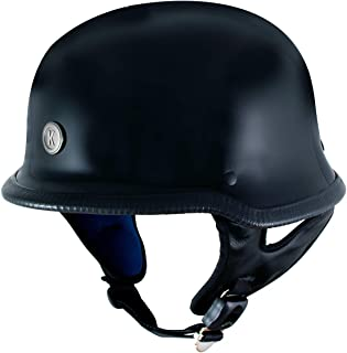 Klutch K-10 'Das Hammer' Gloss Black Half Face Motorcycle German Style Helmet - 2X-Large